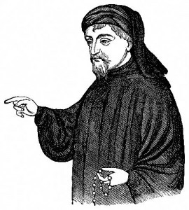 Geoffrey Chaucer, the author of the Canterbury Tales.