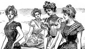 Gibson Girls at the Seaside - a painting by Charles Dana Gibson
