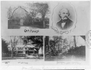 This collage from the Library of Congress shows Nathaniel Hawthorne's portrait, places he lived, and his gravesite.