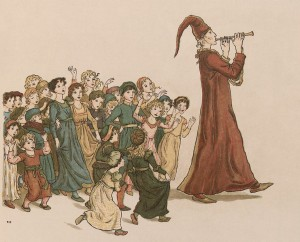 The pied piper led the children along with his music.