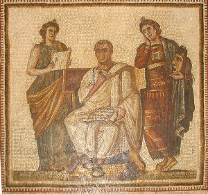 """GiorcesBardo42"" 07.06.2007, photo by Wikimedia Commons user ""Giorces"" and touch-up by ""Dyolf77""  Description: ""The great Latin poet, Virgil, holding a volume on which is written the Aenid. On either side stand the two muses: ""Clio"" (history) and ""Melpomene"" (tragedy). The mosaic, which dates from the 3rd Century A.D., was discovered in the Hadrumetum in Sousse, Tunisia and is now on display in the Bardo Museum in Tunis, Tunisia."" Creative Commons License"