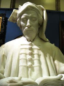 Sir George Frampton sculpted Geoffrey Chaucer, the author of the Canterbury tales.