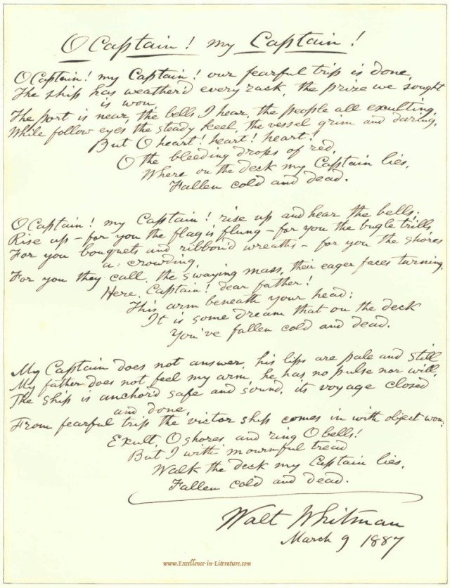 """A draft of """"O Captain! My Captain!"""" in Walt Whitman's own handwriting."""