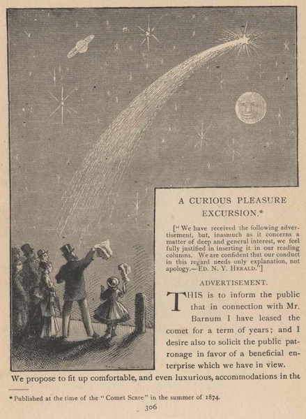 A Curious Pleasure Excursion by Mark Twain, inspired by the 1874 comet scare; published in Sketches Old and New
