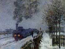 Train in the Snow by Claude Monet, 1875 {{PD-1923}}