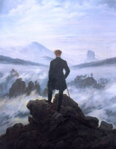 """""""Wanderer above the sea of fog"""" by Charles David Friedrich, 1818, depicts a lone observer looking out over a fog-enshrouded landscape: a good example of the Romantic art style."""