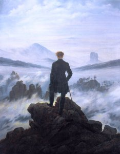 """Wanderer above the sea of fog"" by Charles David Friedrich, 1818, depicts a lone observer looking out over a fog-enshrouded landscape: a good example of the Romantic art style."