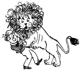 The lion sprang upon Jim (from Cautionary Tales for Children, by Hilaire Belloc).