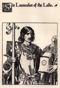 Sir Lancelot, as drawn by Howard Pyle, is a handsome figure.
