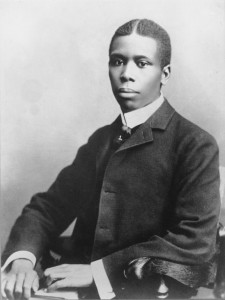 Paul Laurence Dunbar as photographed by Addison Scurlock in 1906; image from the Smithsonian Institution.