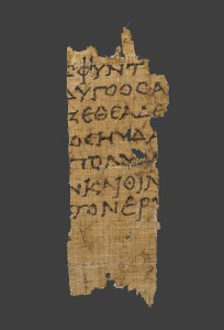 This fragment of papyrus, containing a passage from the Odyssey, dates from the 1st century B.C.
