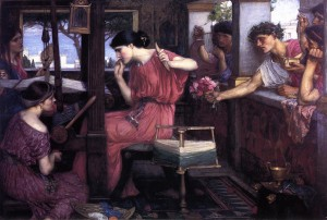 Penelope was surrounded by many suitors, as portrayed in this painting by John William Waterhouse.