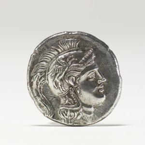 Athena's head is depicted on this Greek silver coin dating from 335-330 BC.