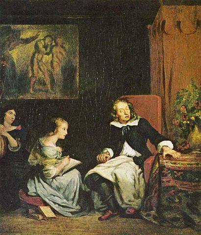 Milton dictates to his daughters, by Eugène Delacroix (1798-1863)