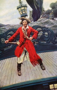 """Captain Keitt"" (plate facing p. 212) from story ""The Ruby of Kishmoor"" in Howard Pyle's Book of Pirates. New York: Harper, 1921. Image via Wikimedia Commons."