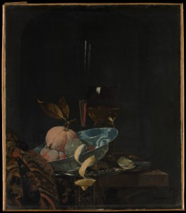 Dutch Master Willem Kalf painted this still life of fruit, glasses, and carpet that looks real enough to touch.