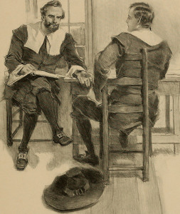 The bond of friendship is invoked as Captain Miles Standish makes his request to John Alden in Longfellow's poem, The Courtship of Miles Standish.