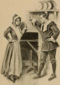 John Alden brings another man's proposal to Priscilla in The Courtship of Miles Standish, by Longfellow.