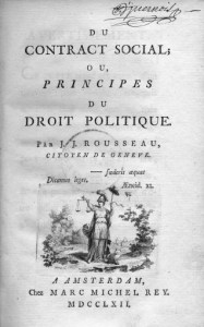 "Cover of the first edition of ""Du Contract Social ou Principes du Droit Politique"" by Jean-Jacques Rousseau, 1762. Public Domain."