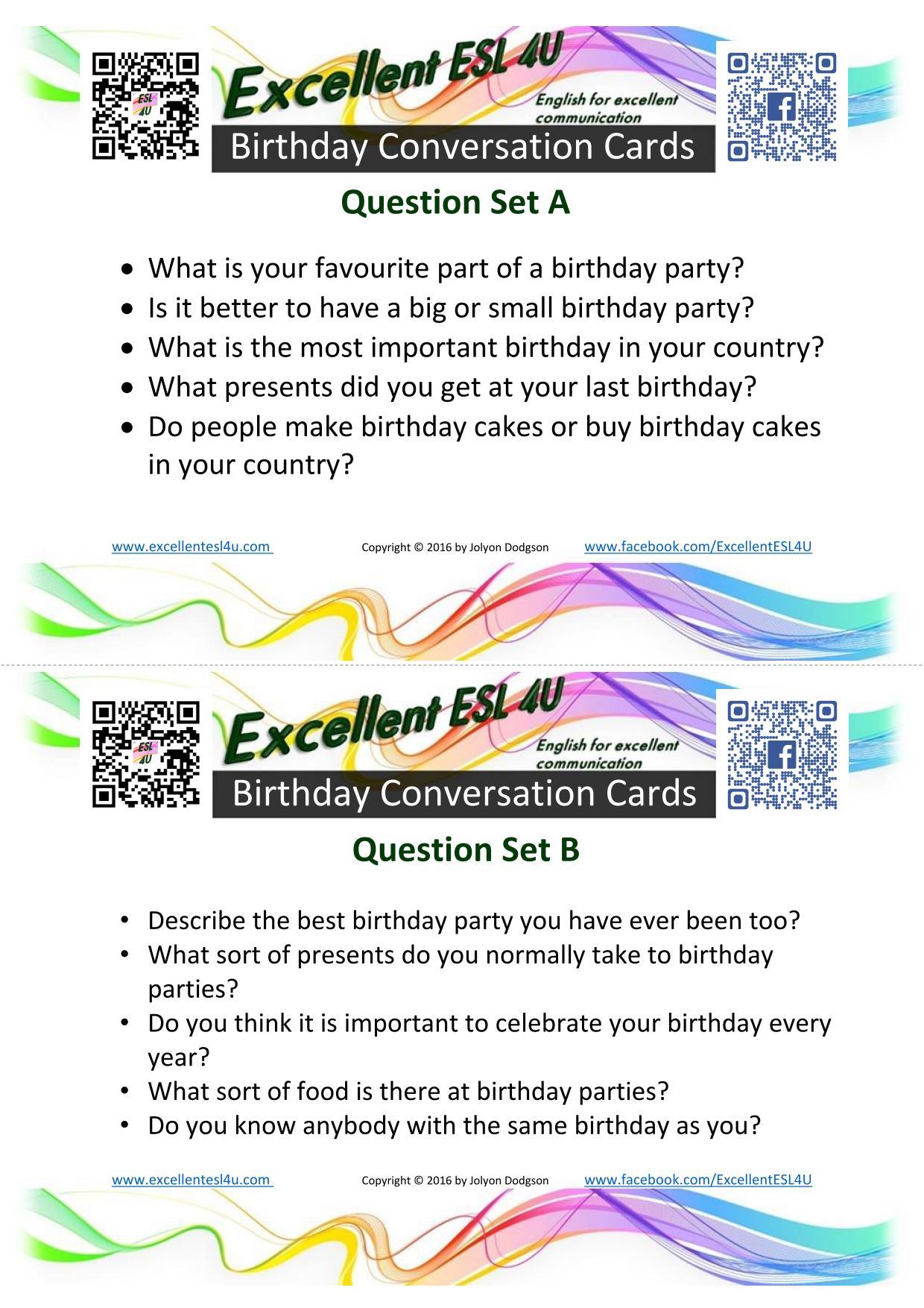 Esl Birthday Conversation