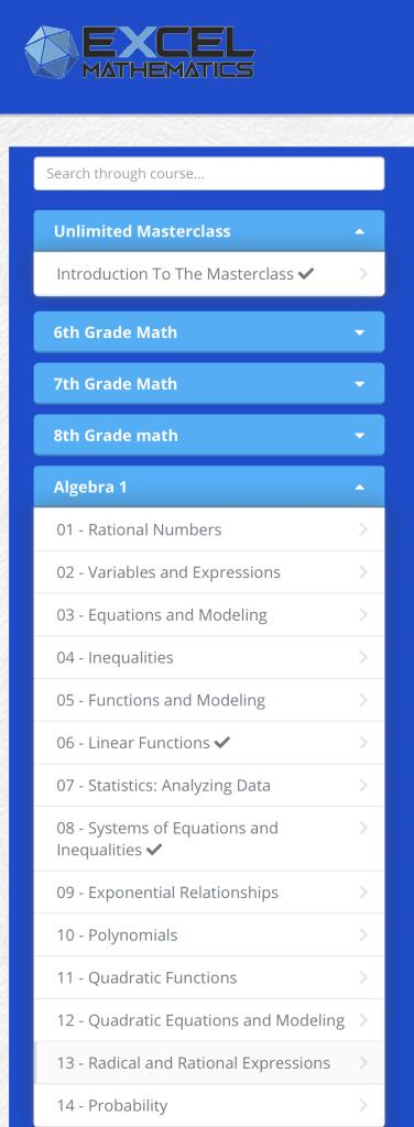 , Algebra 1 Online Math Course