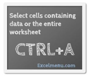 Select cells containing data or the entire worksheet