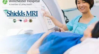Winchester Hospital and Shields MRI logos with woman conducting an MRI exam