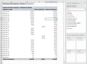 Configura pivot aggiungi filtro