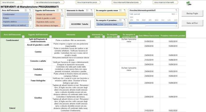 Pagina Programma foglio Excel manutenzione casa ufficio
