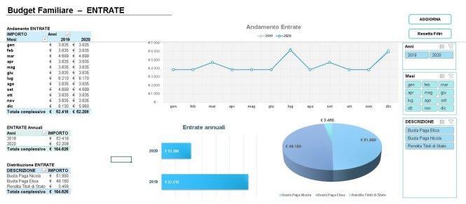 analisi delle entrate bilancio familiare