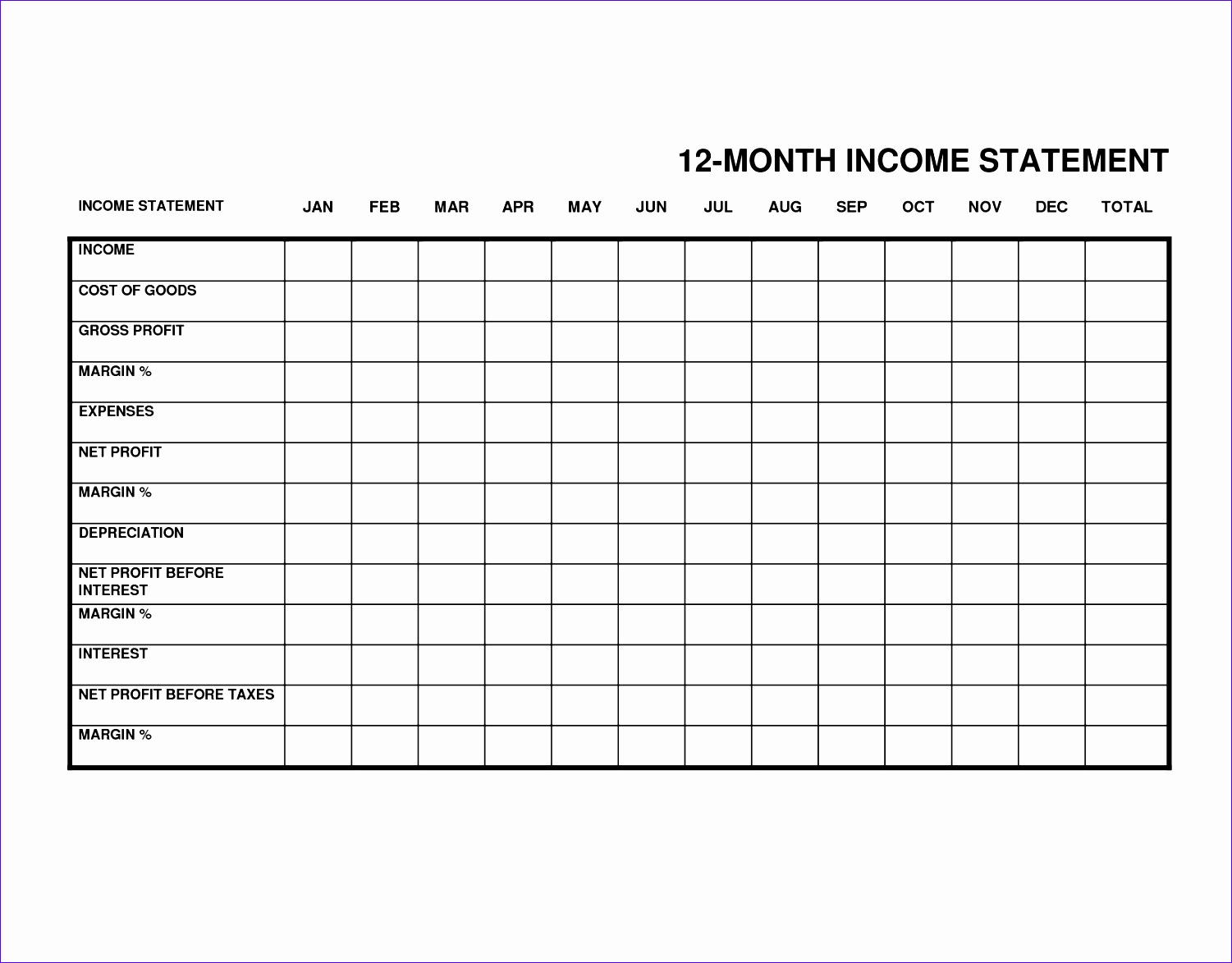 6 Business Financial Statement Template Excel