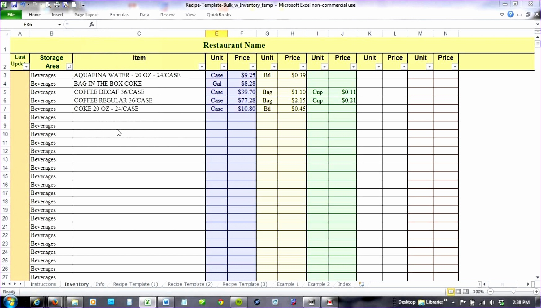 10 Food Cost Excel Template