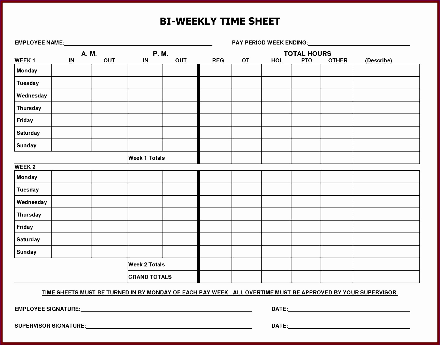 6 Free Excel Timesheet Template With Formulas