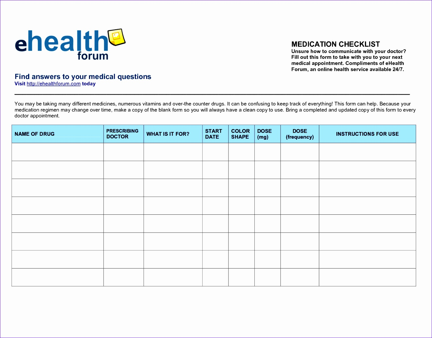 10 Ms Excel Patient Medication Log Template