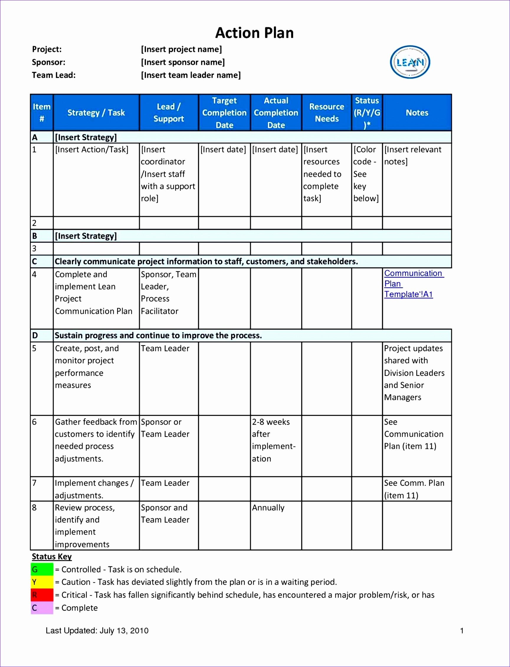10 Six Sigma Project Charter Template Excel