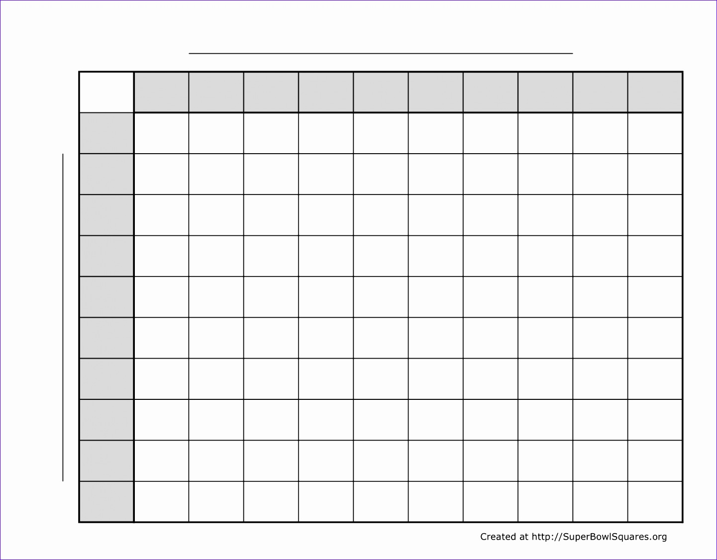 10 Super Bowl Squares Template Excel