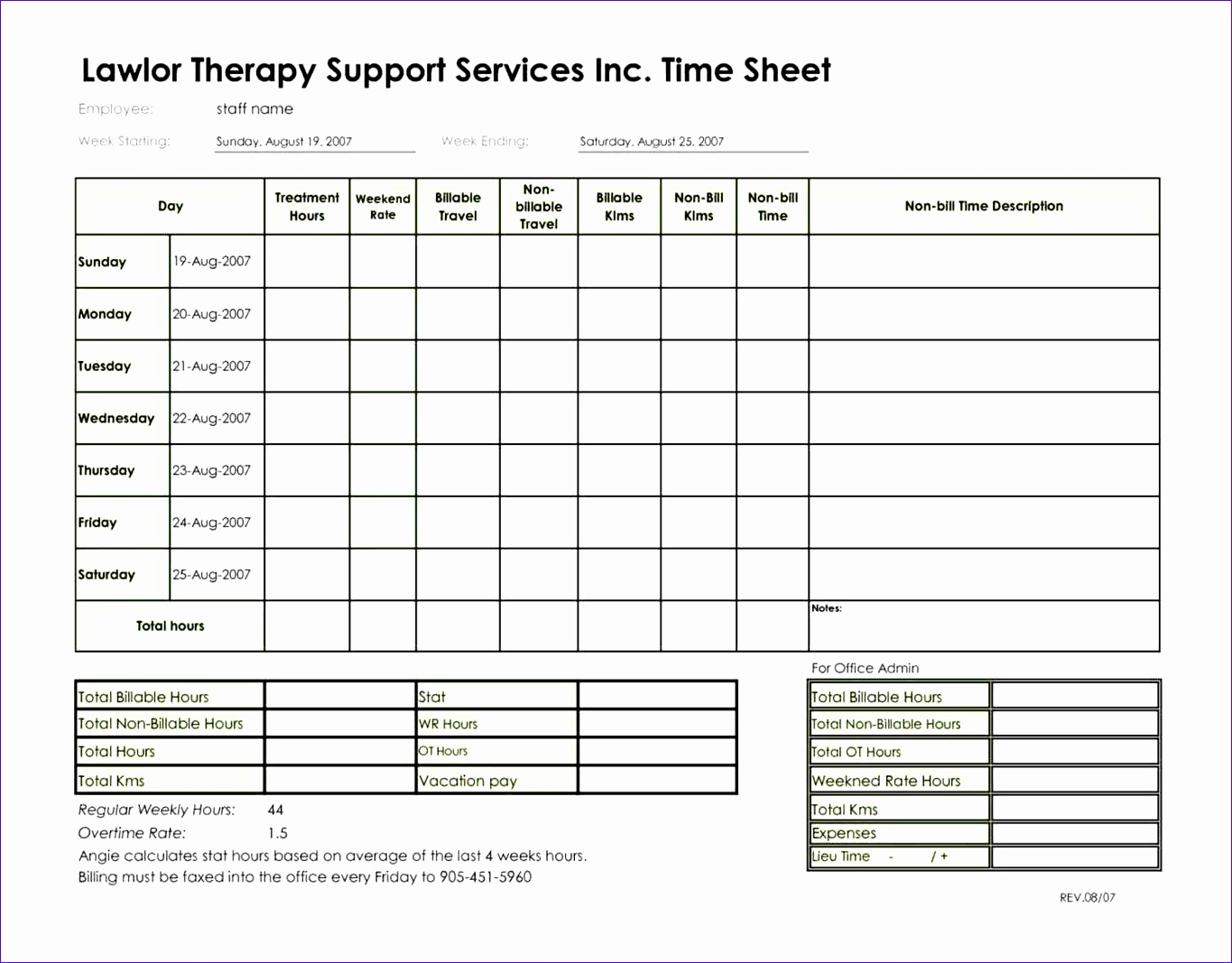 12 Timesheet Invoice Template Excel