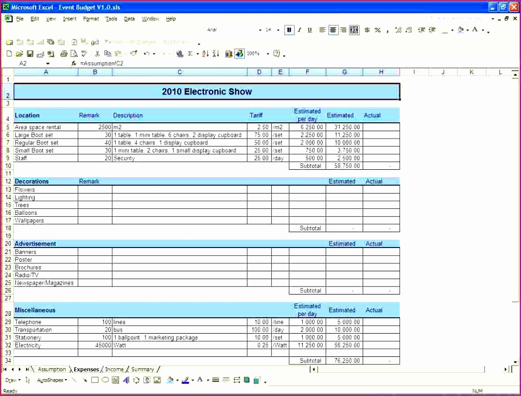 10 Excel Business Budget Template