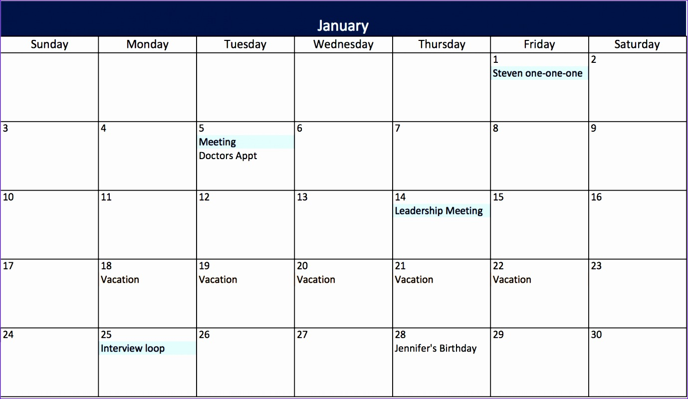 10 Monthly Calendar Template Excel