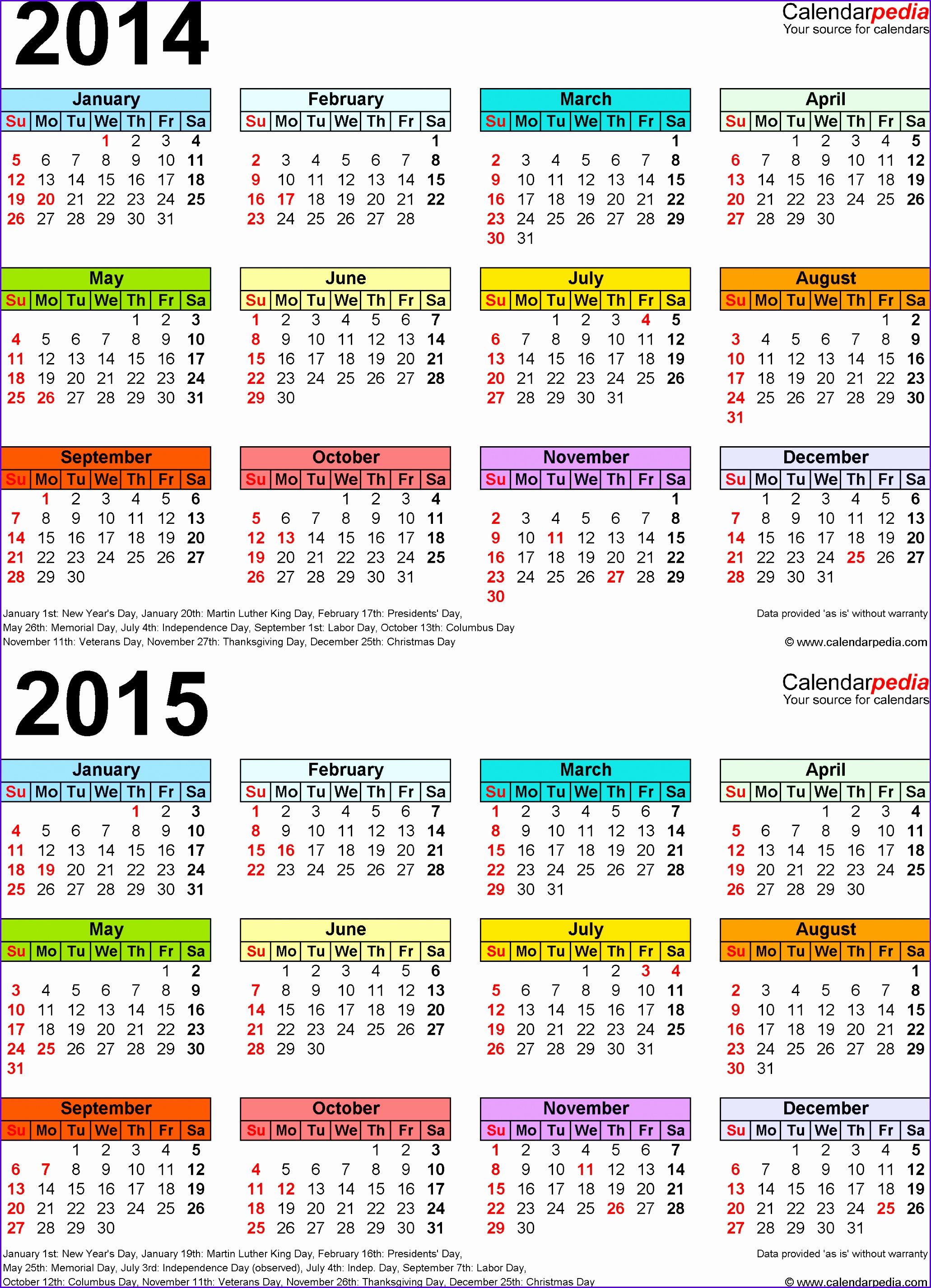 14 Calendar Template Excel