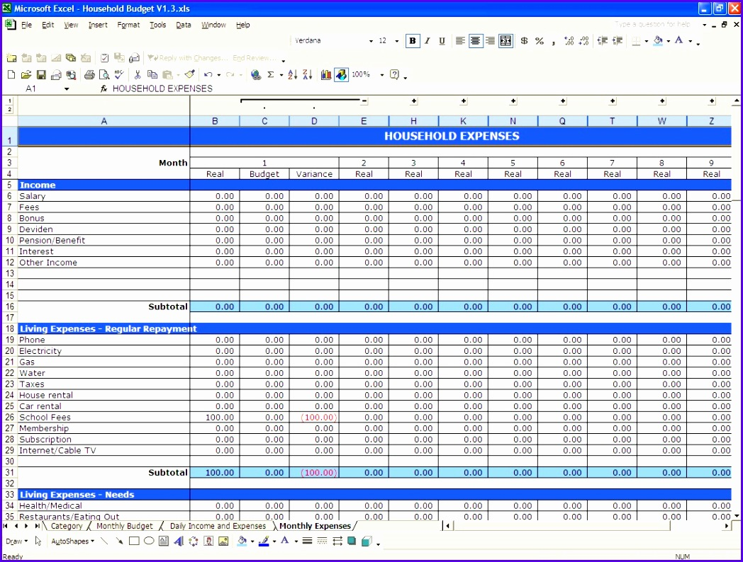 9 Free Excel Personal Budget Template