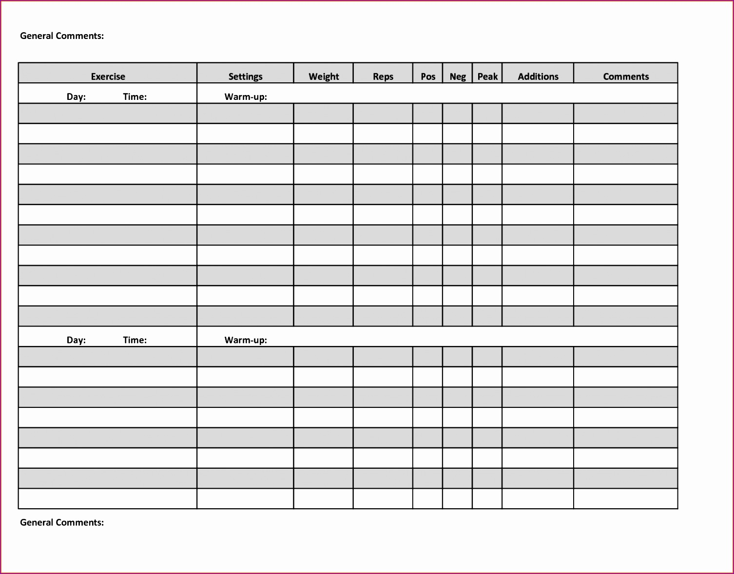 10 Excel Workout Templates