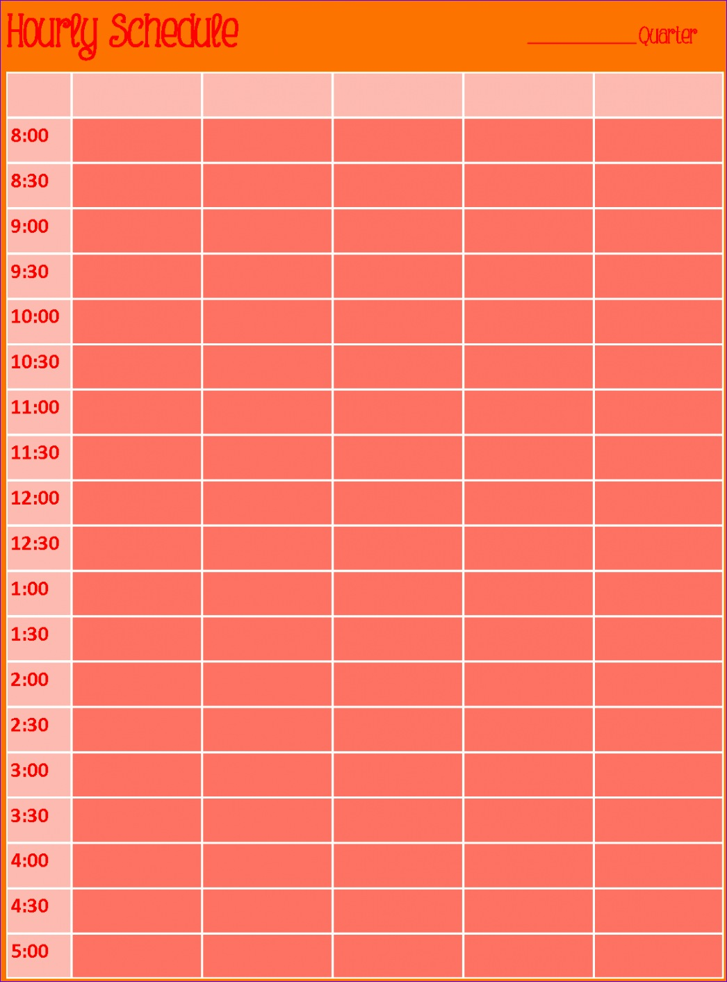 12 Hourly Calendar Template Excel