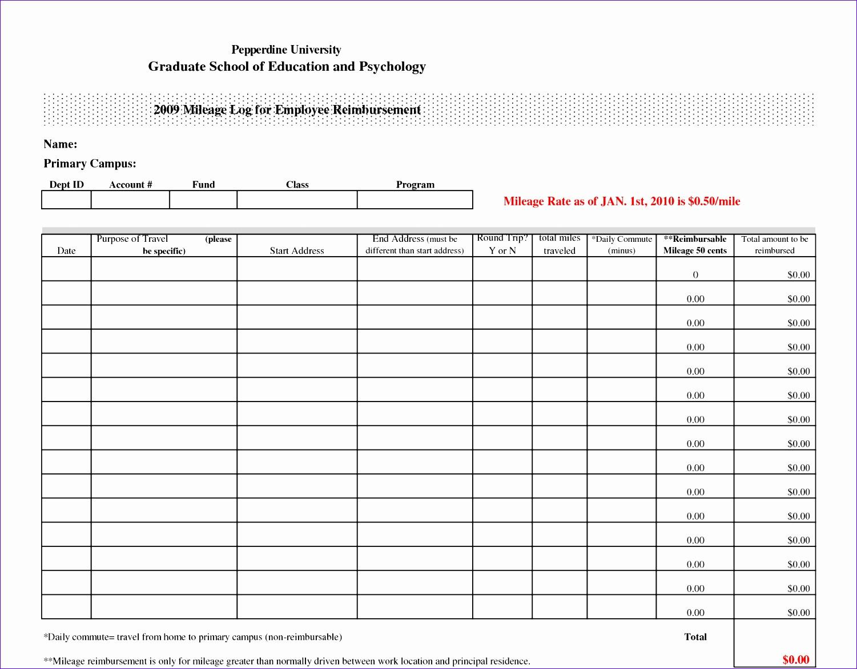 8 Mileage Log Template Excel