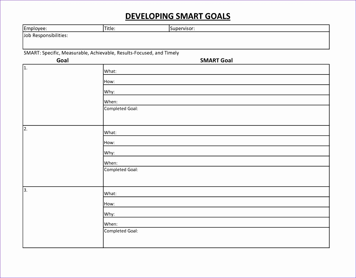 8 Smart Goals Excel Template