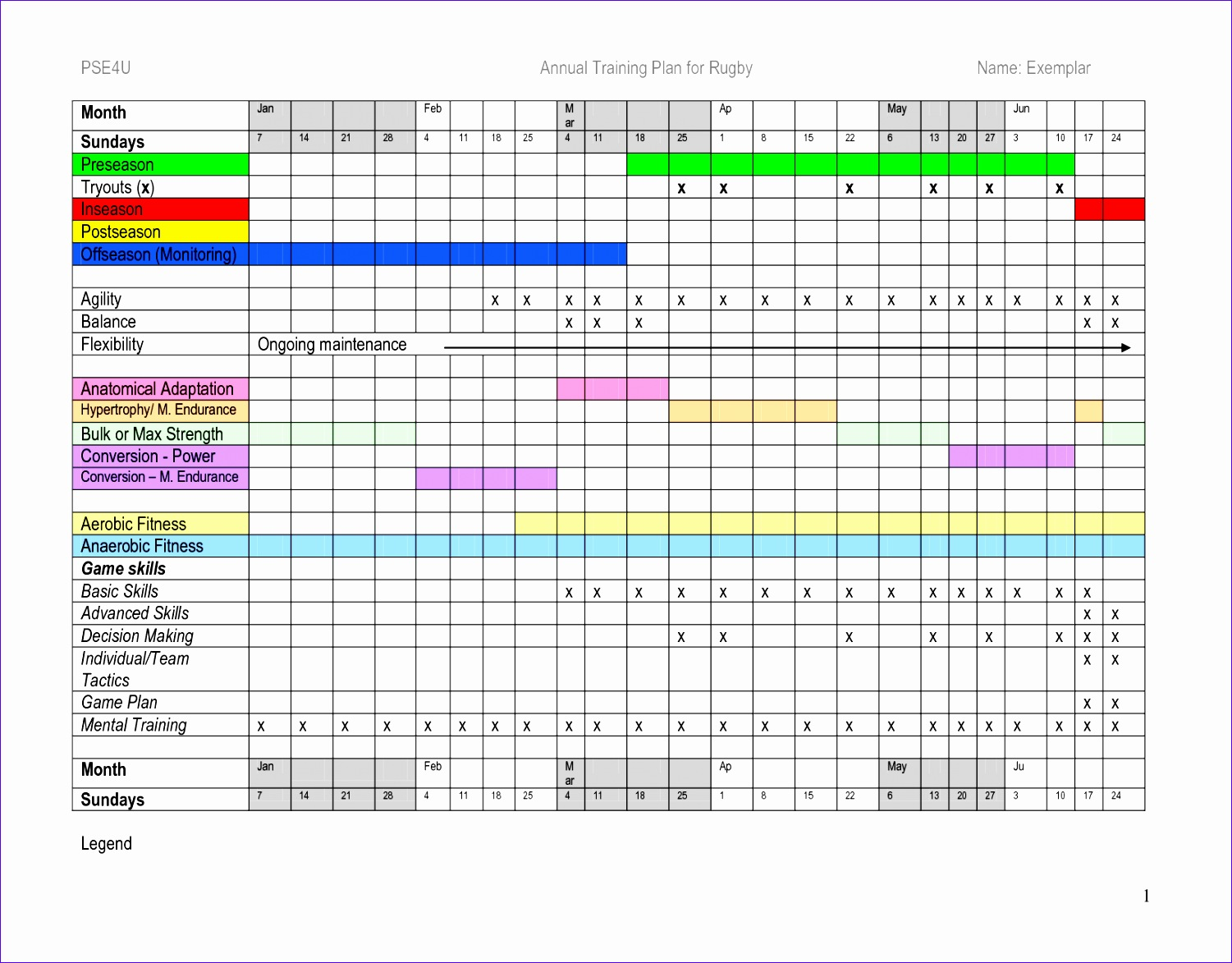 6 Training Plan Template Excel