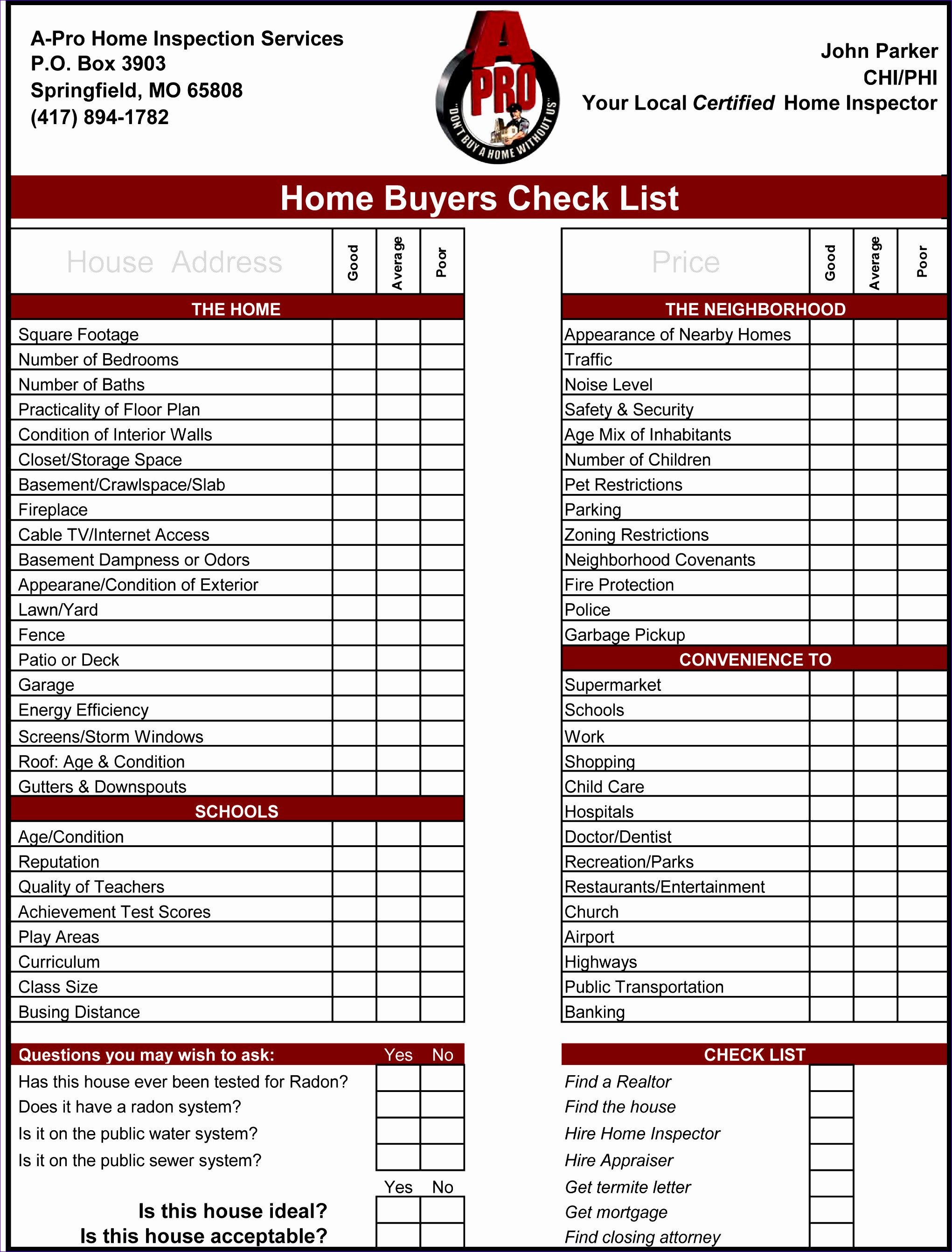 Estate Inventory Worksheet Missouri