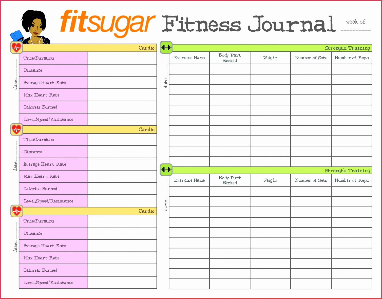 12 Workout Log Excel Template