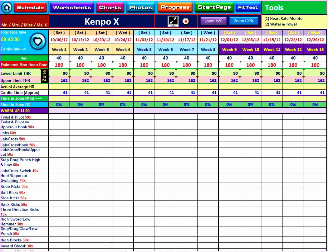 9 Workout Spreadsheet Excel Template