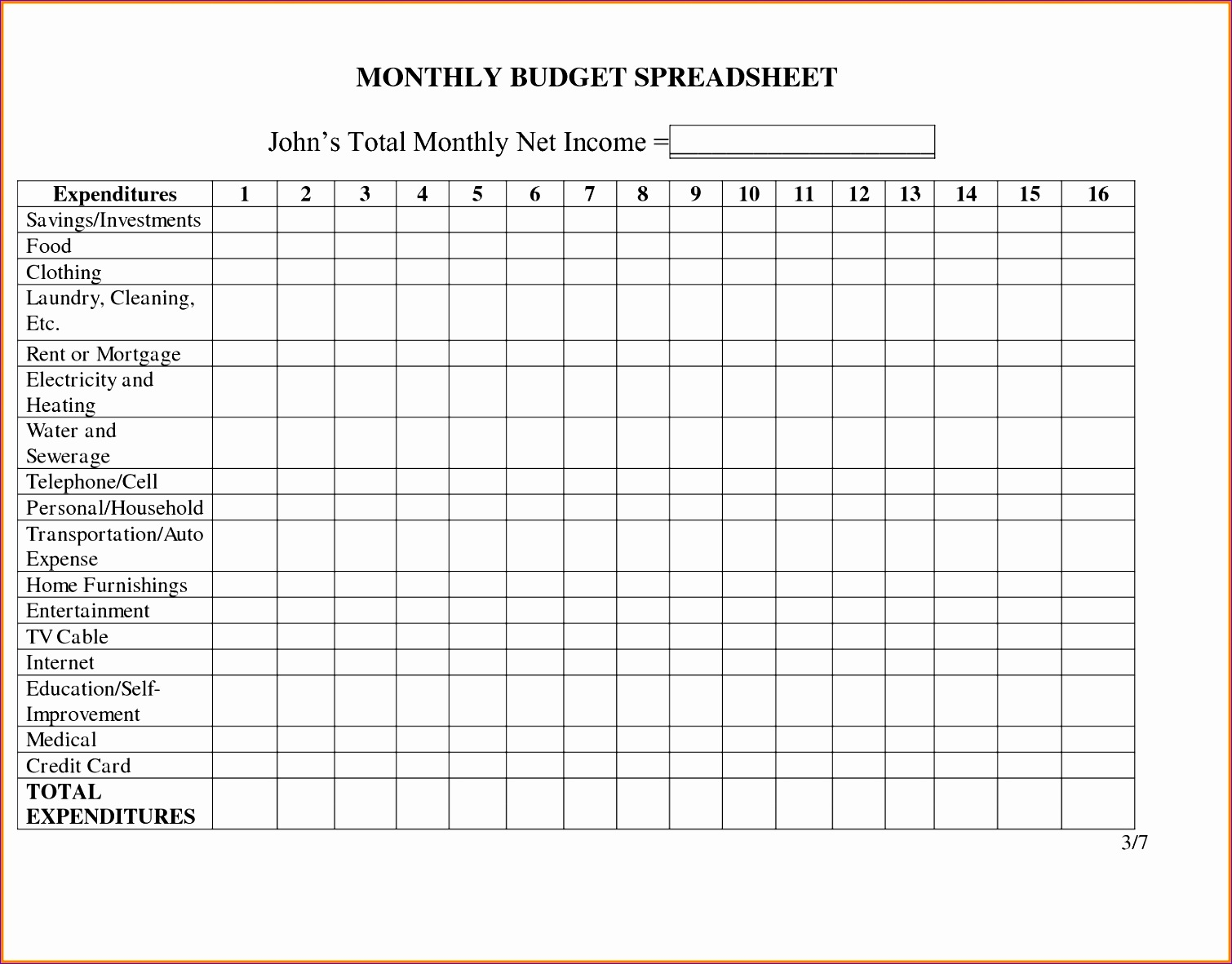 12 Yearly Budget Template Excel